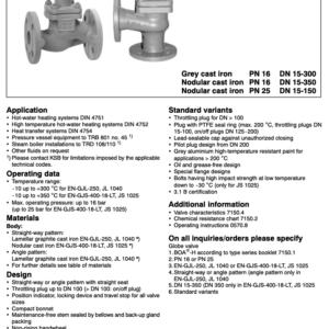 KSB - Valve [PN16, DN15-300],[PN16, DN15-250],[PN25, DN15-150]